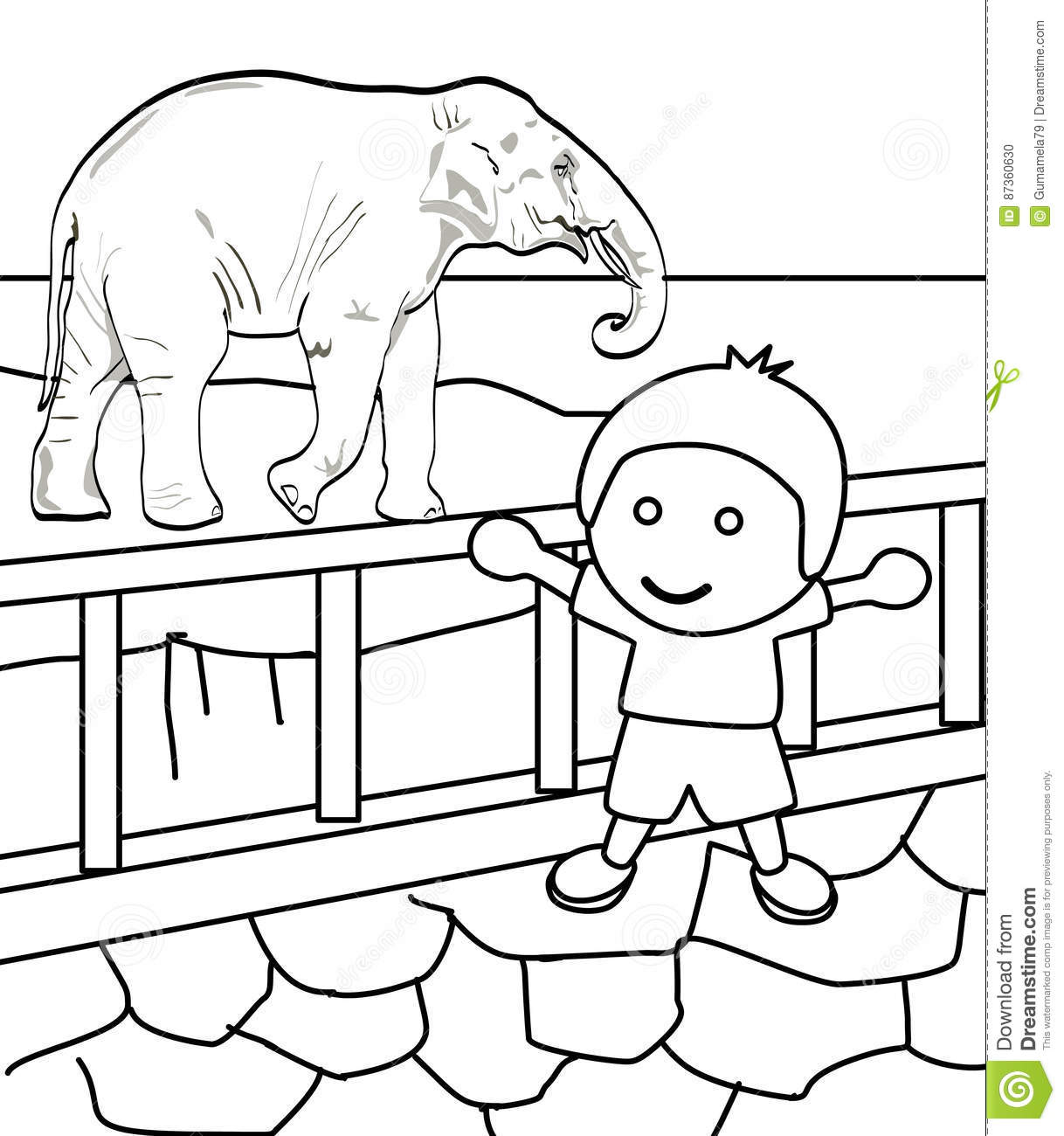 Cute Little Boy In A Zoo Coloring Page Stock Illustration