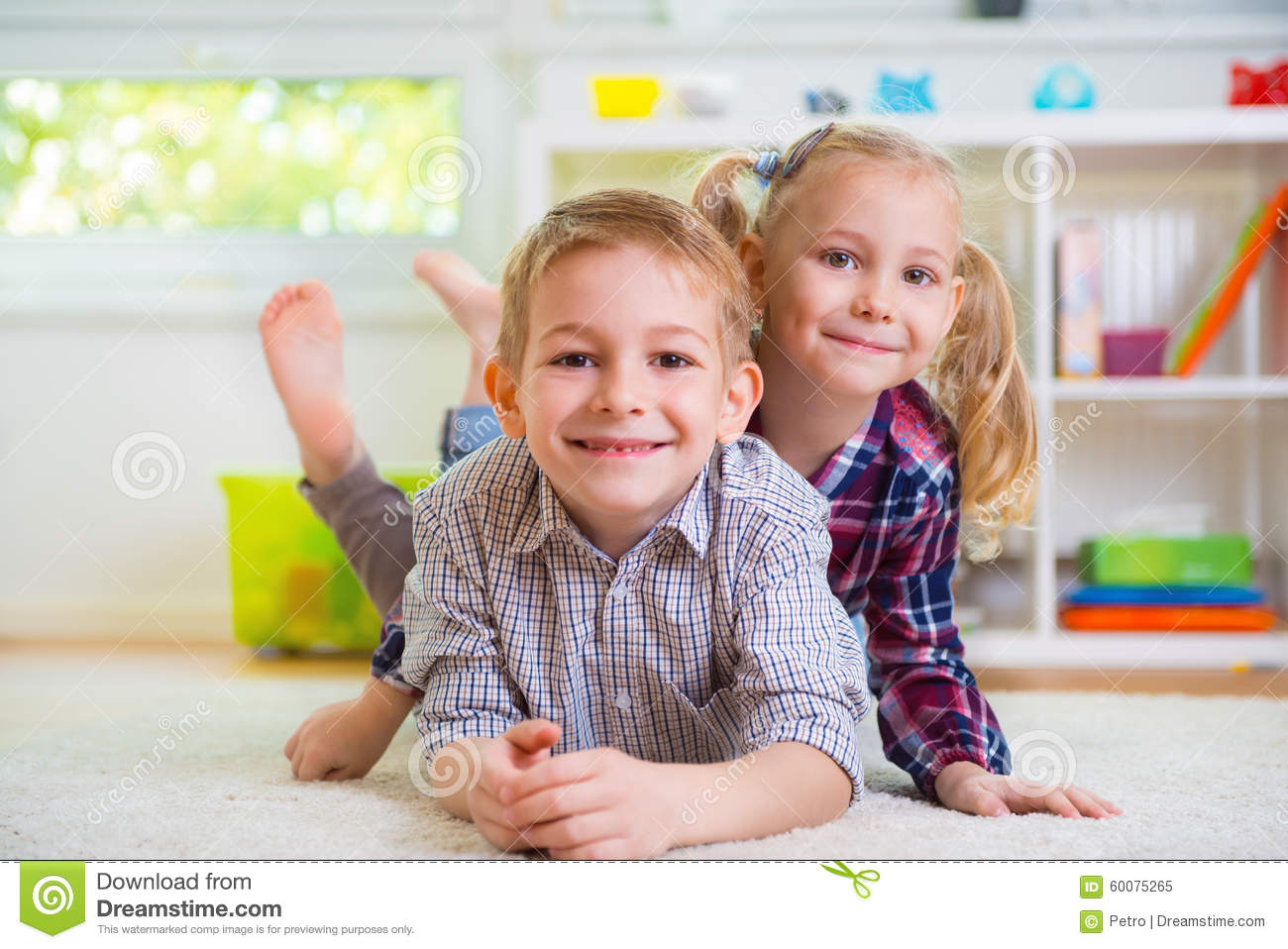 Cute Little Brother And Sister Having Fun Stock Photo 60075265