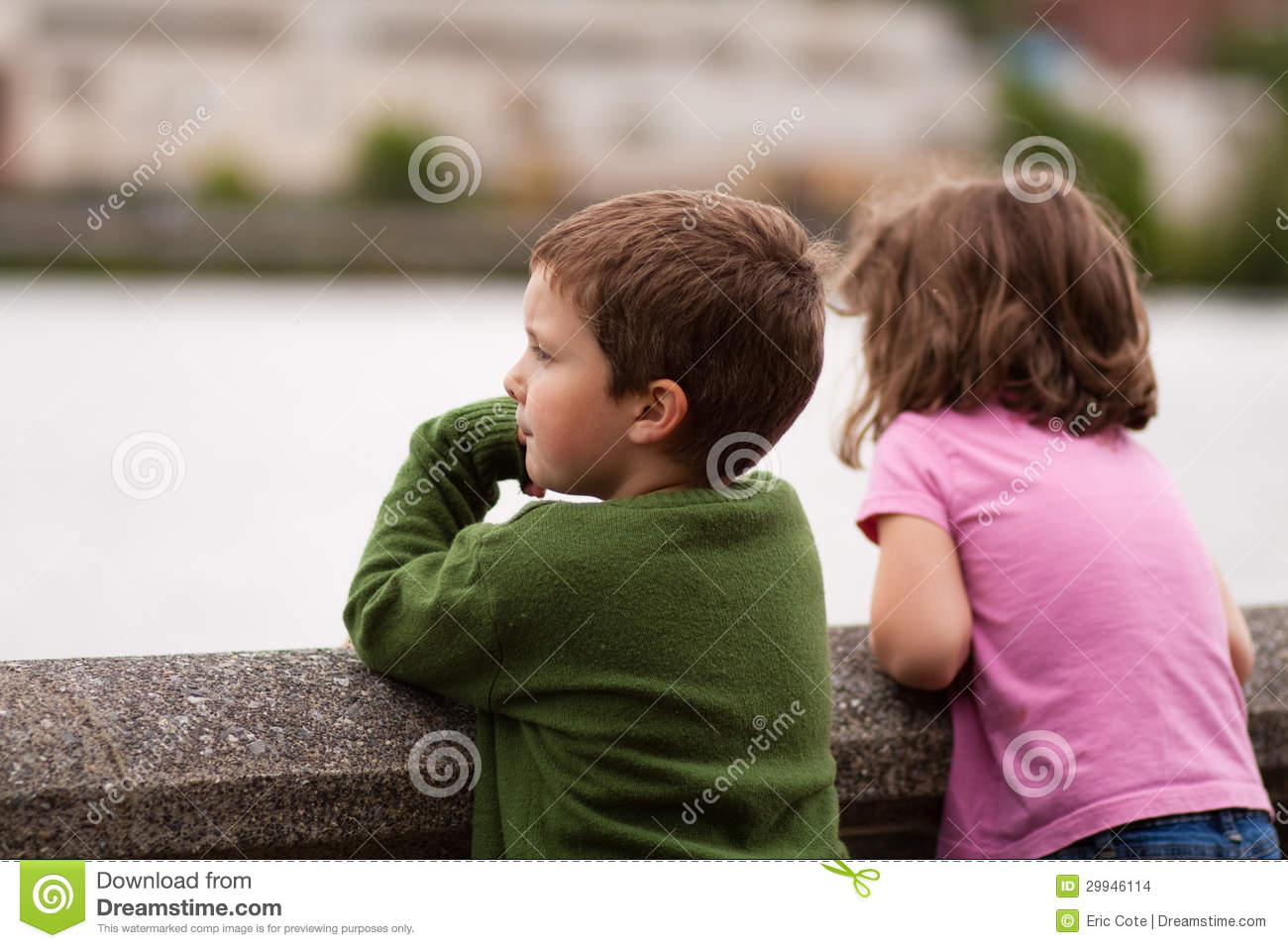 Brother And Sister Stock Photo Image Of Watch Lake 29946114
