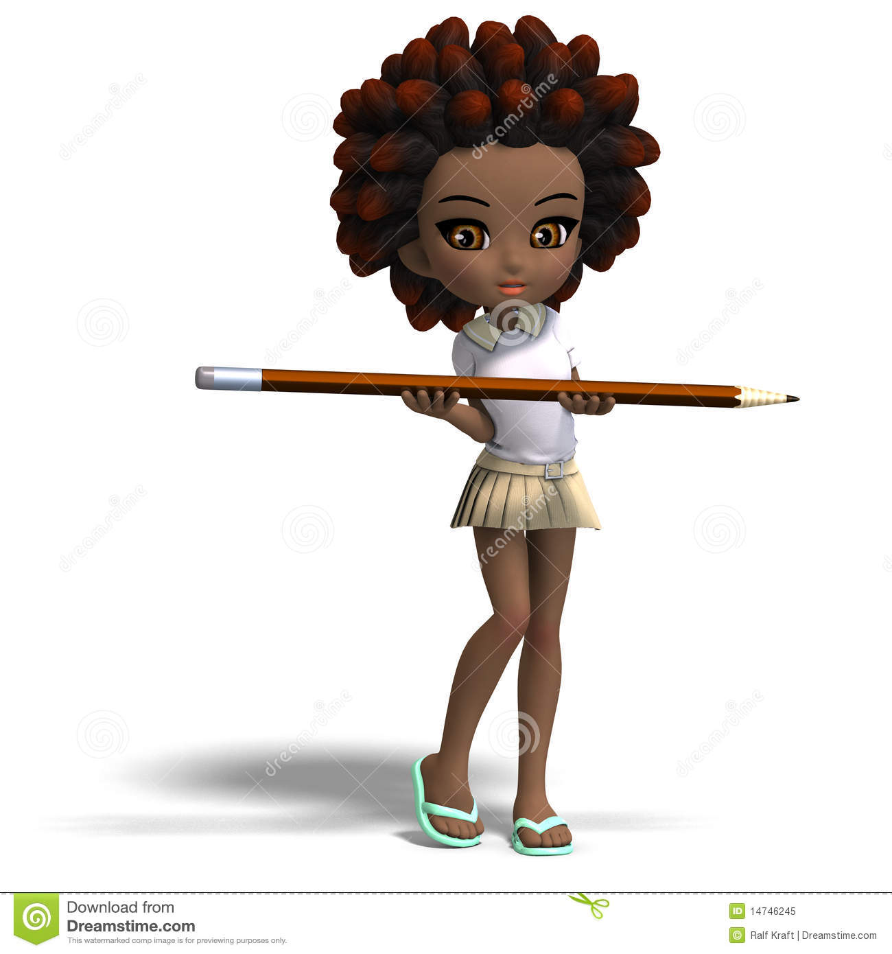 Cute Little Cartoon School Girl With Curly Hair. Royalty Free Stock ... Octopus Cartoon Images