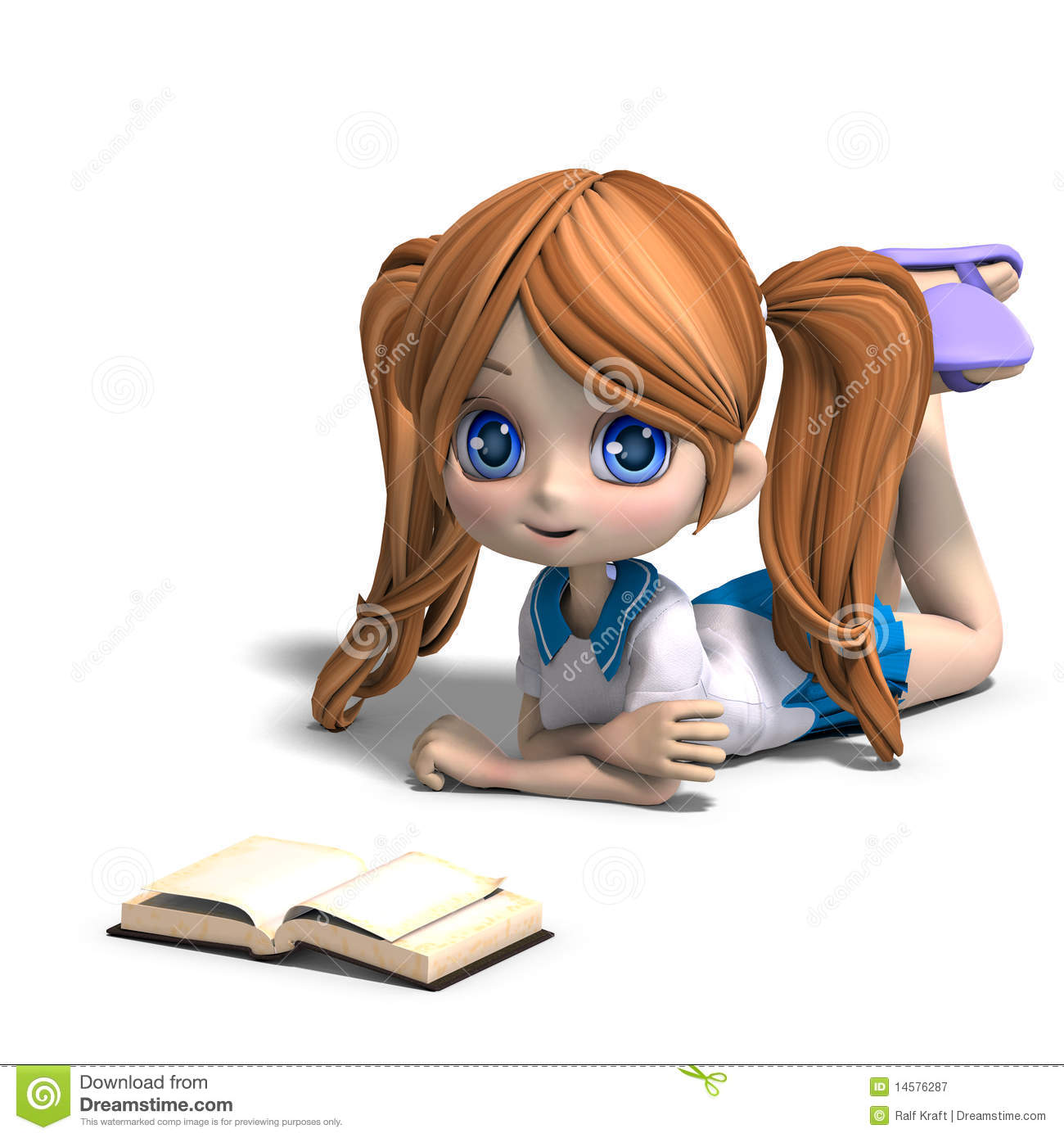 Cute little cartoon school girl reads a book 3d