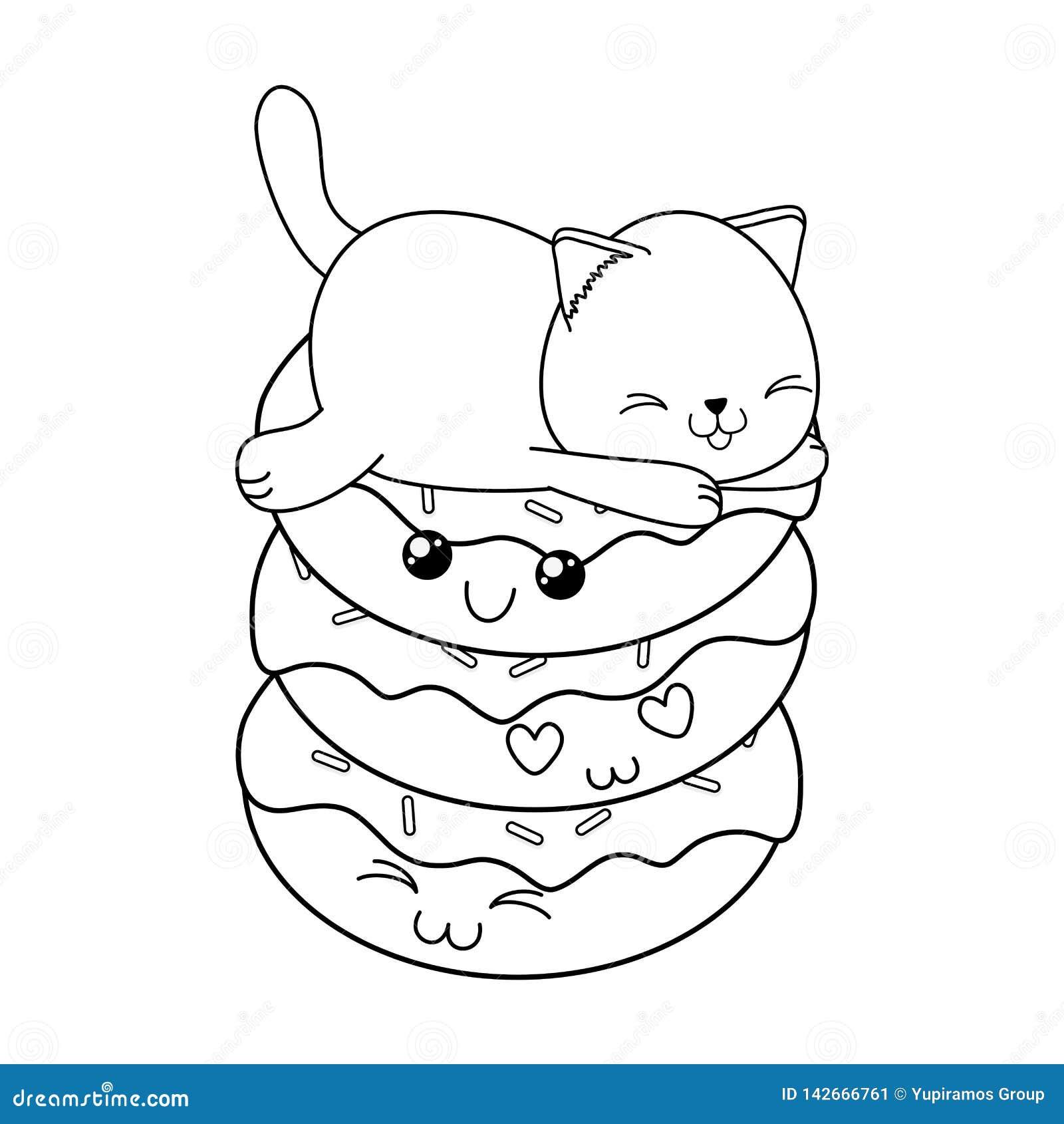 Картинки не раскрашенные кот пончик