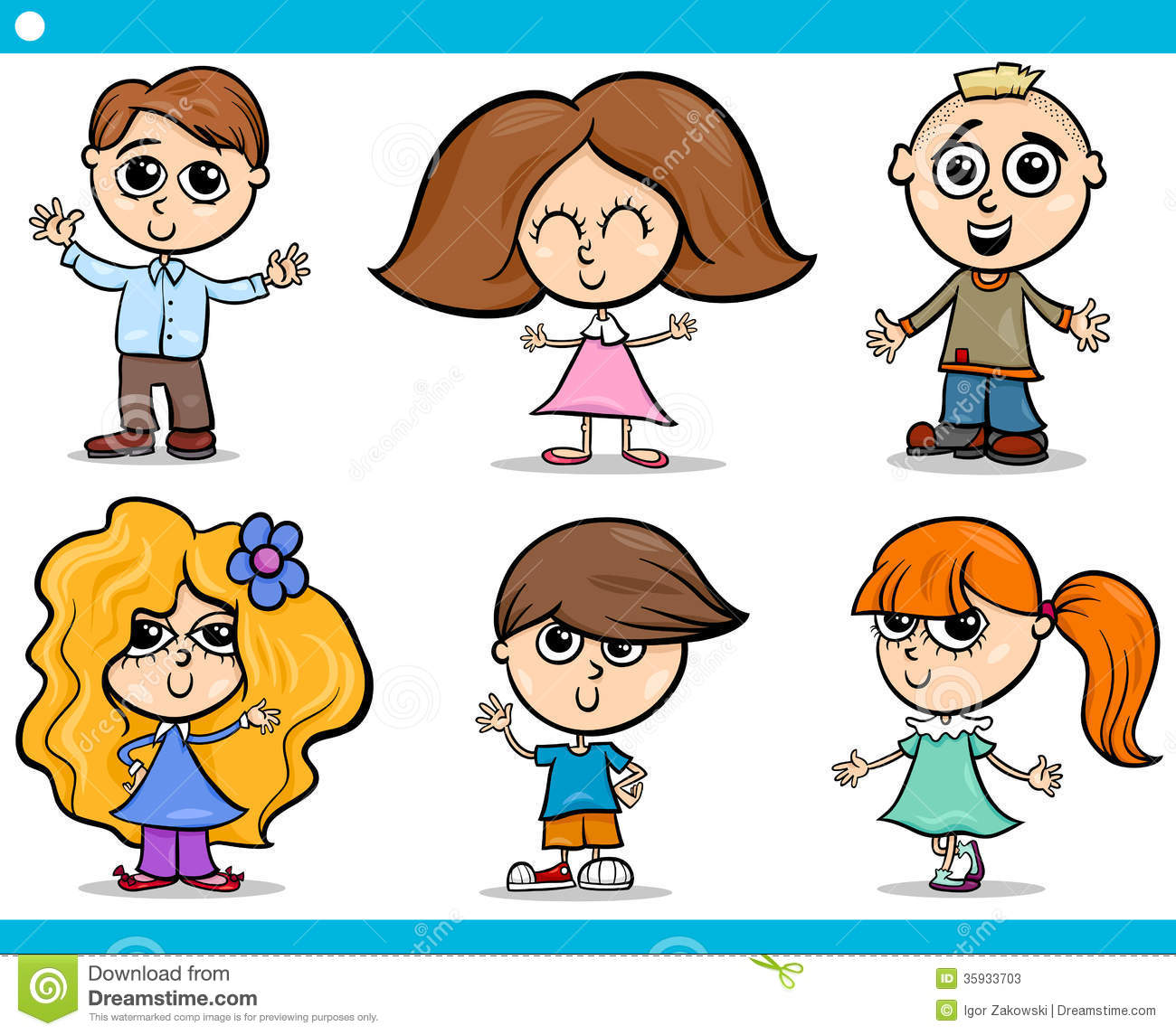 Cartoon Illustration of Cute Little Boys and Girls Children Characters ...