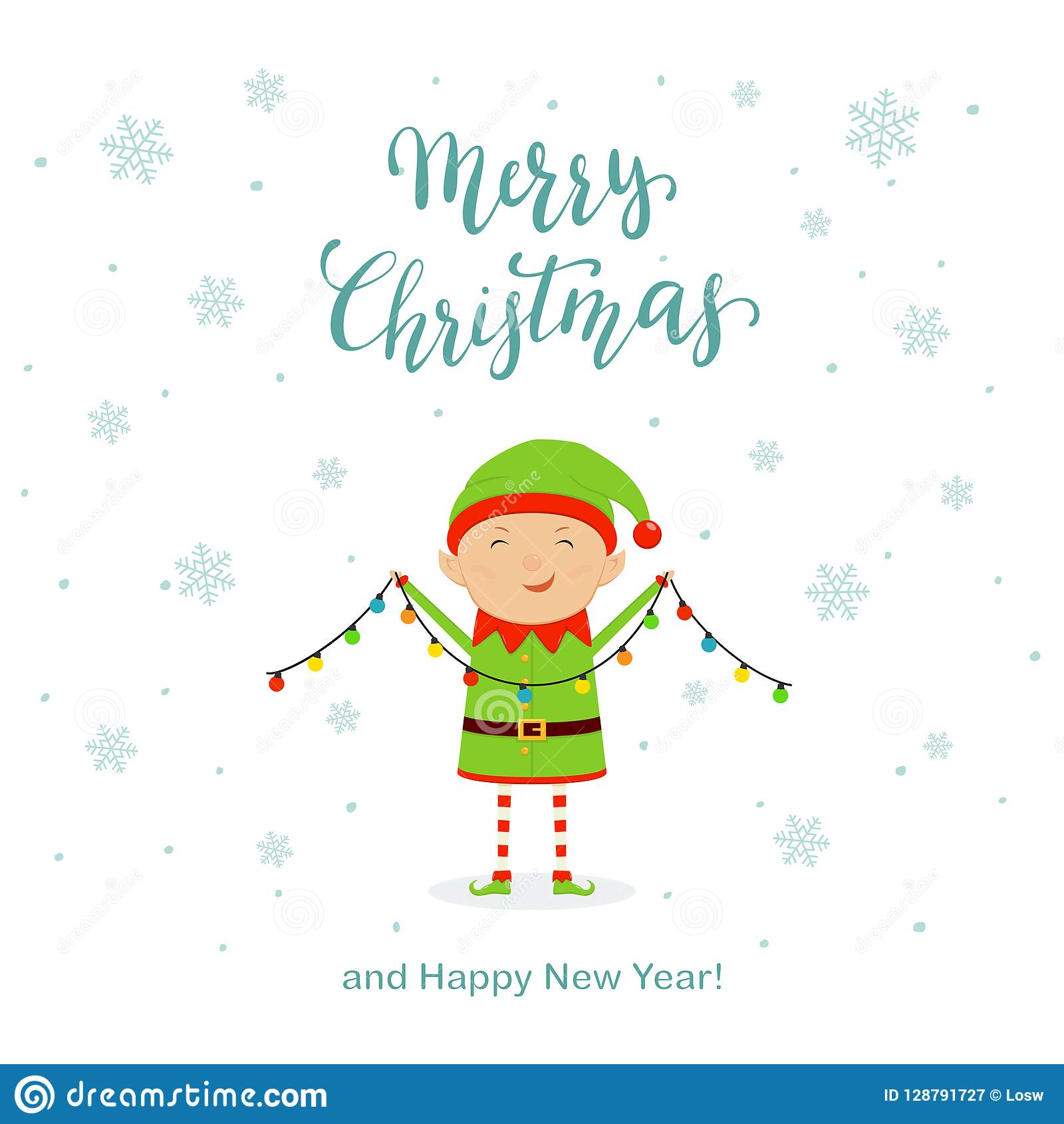Christmas Light With Cute Happy Elf Stock Vector