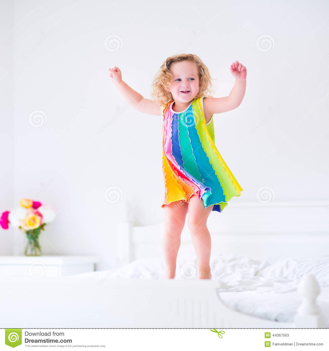 Girl jumping on the bed, fucking young girl