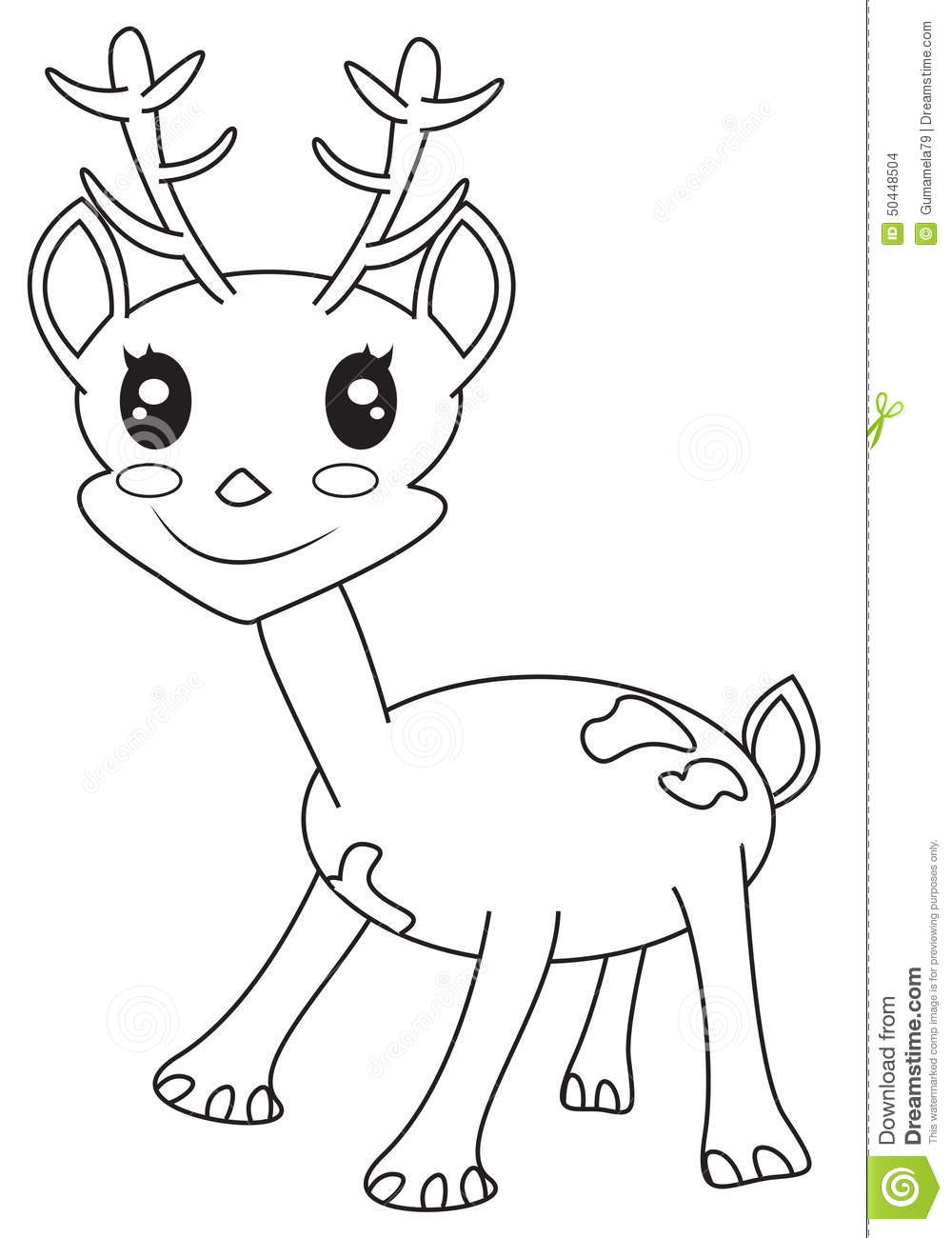 Cute Little Deer Coloring Page Stock Illustration
