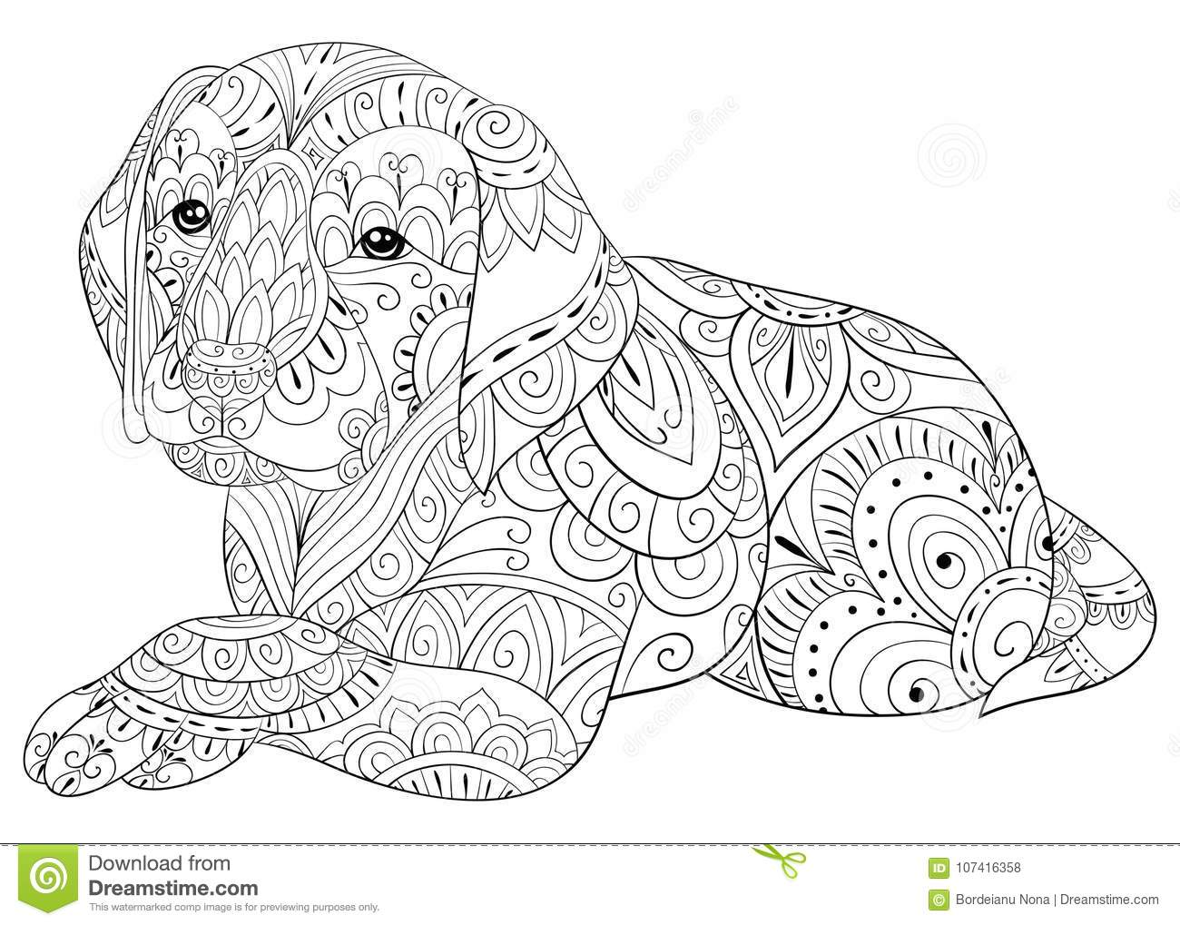Adult Coloring Page A Cute Dog For Relaxing.Zen Art Style ...