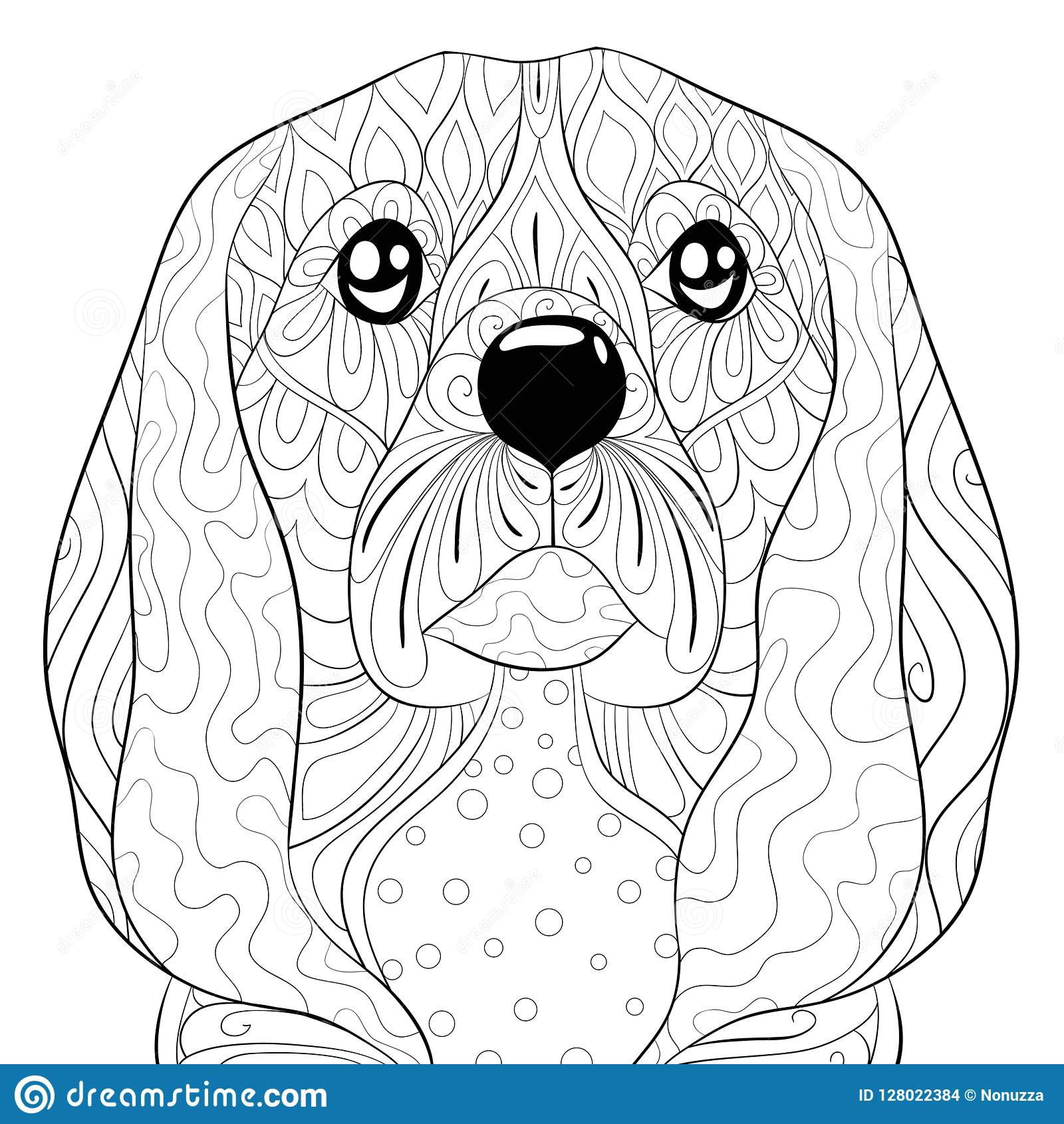 Adult Coloring Page,book A Cute Dog Image For Relaxing ...