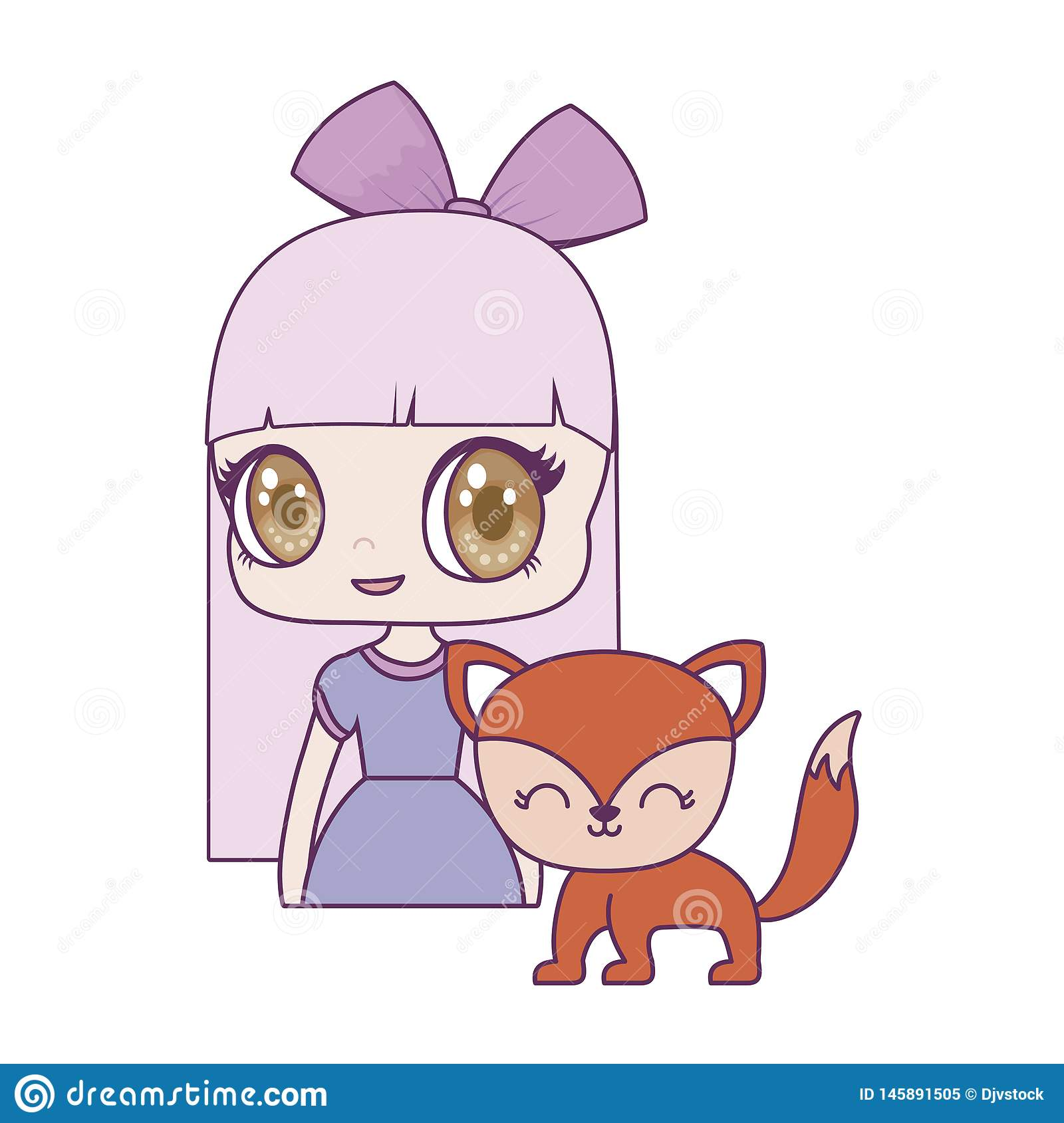 Cute little doll with fox animal. Vector illustration design royalty free stock photo