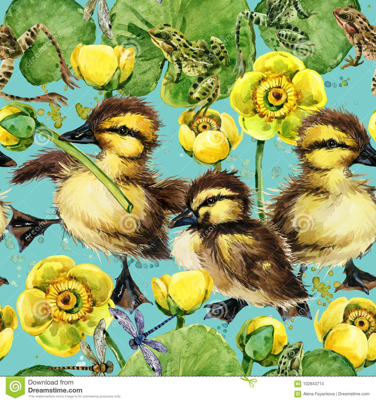 Cute little ducklings seamless pattern.