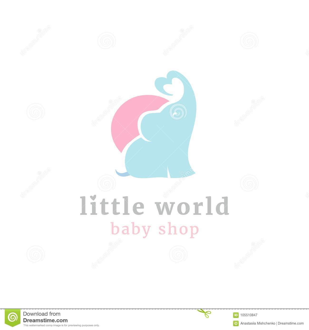 Cute little elephant logo. Kids toy shop and baby goods store mascot