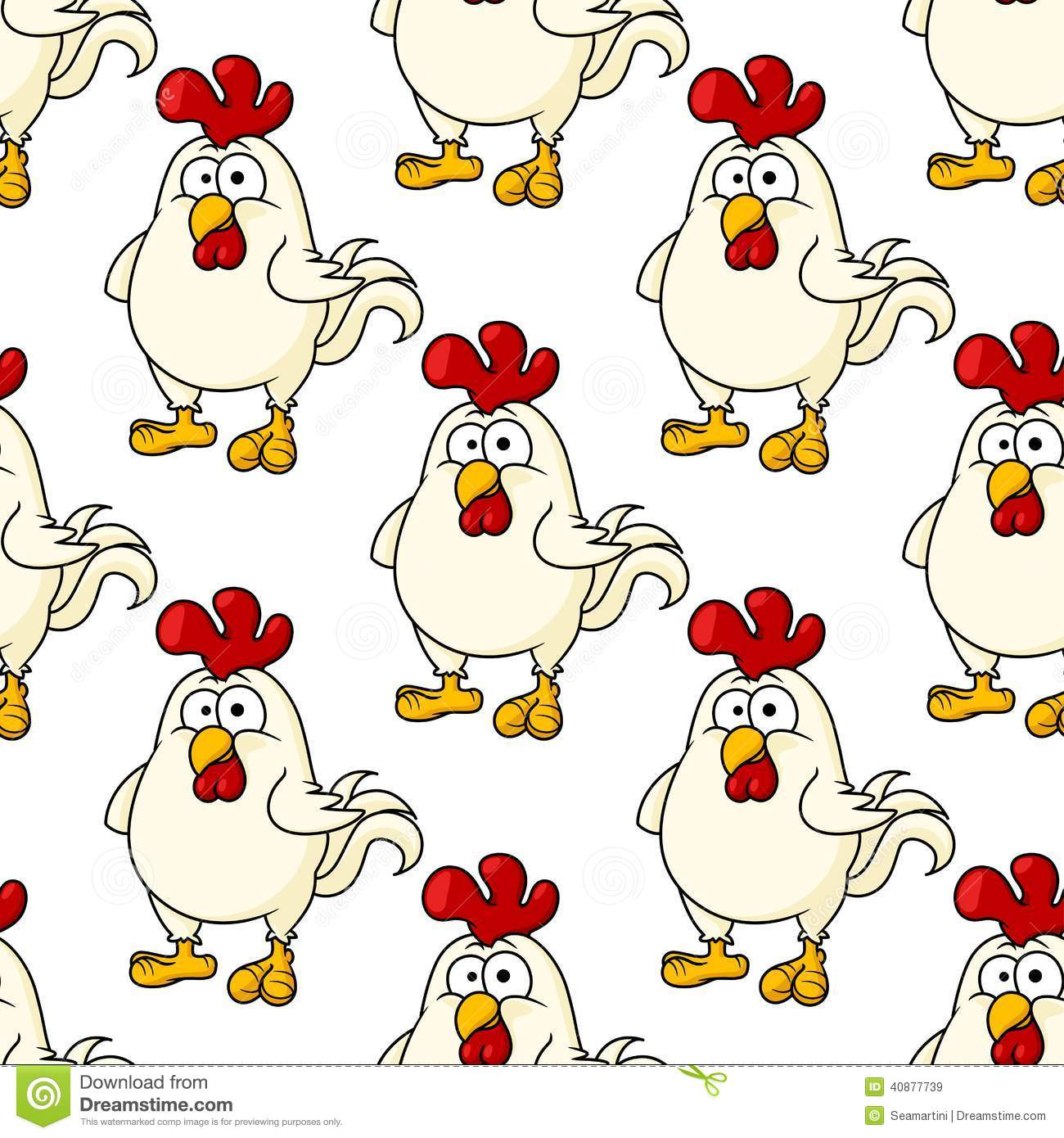 Cute little fat cartoon chicken or rooster seamless background pattern ...