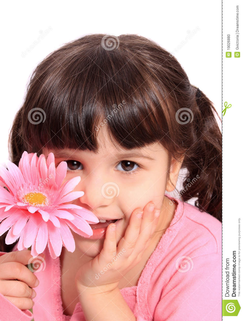 Adorable Four Year Boy With Big Blue Eyes Stock Image: Cute Little Four Year Old Girl With Daisy Stock Photo