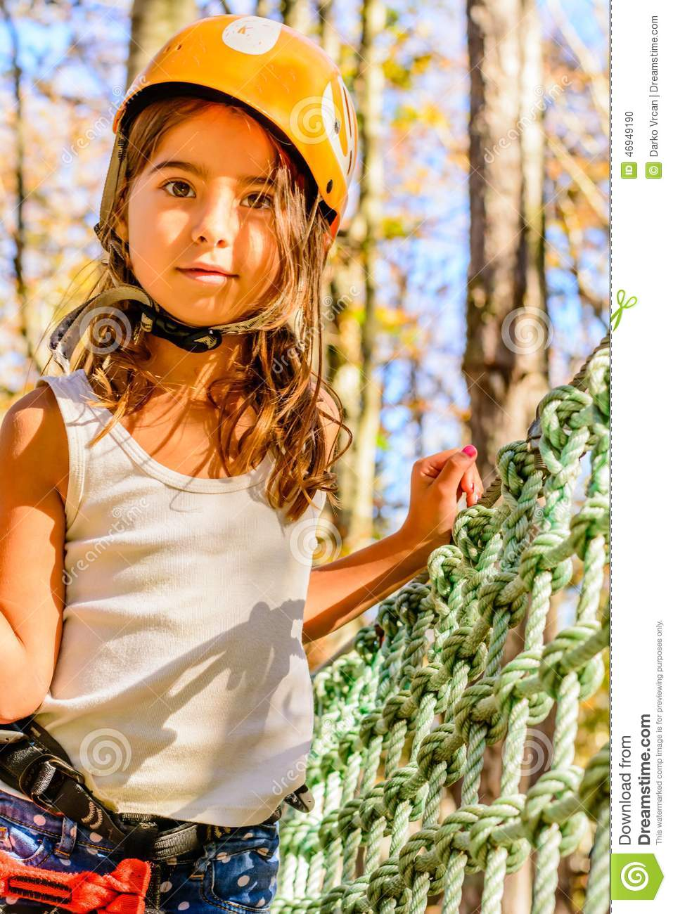 Cute Little Girl In Adventure Park Stock Photo - Image of carefree, scenes: 46949190