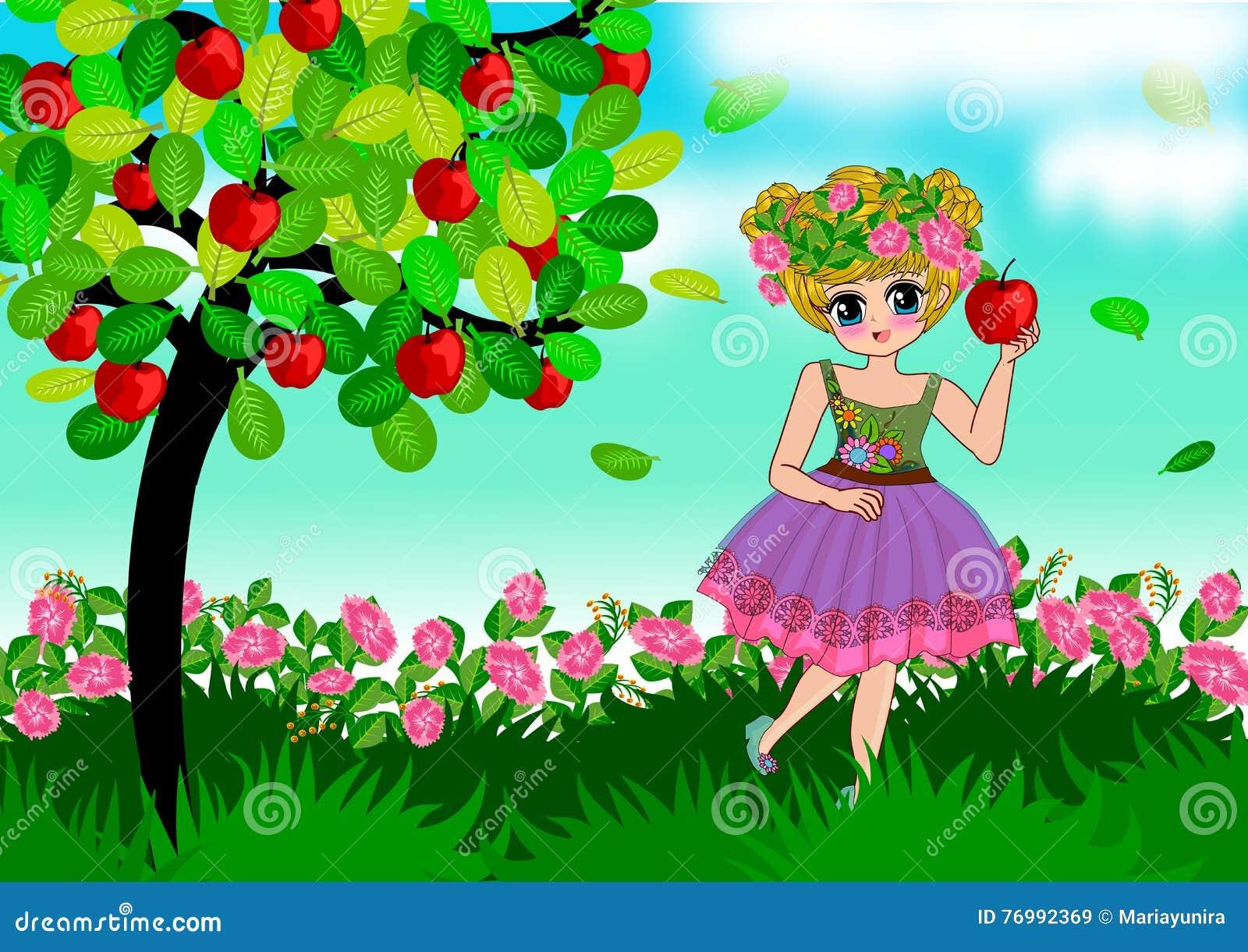 Little Girl Apple Tree Stock Illustrations – 102 Little Girl Apple ...