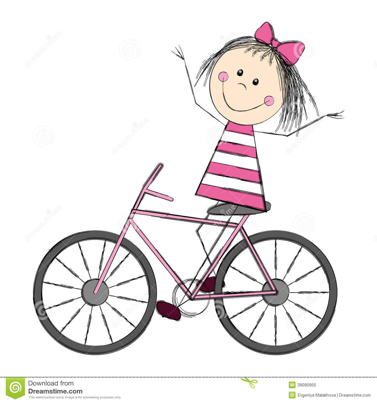 Cute Little Girl On Bicycle Stock Vector - Image: 39095955