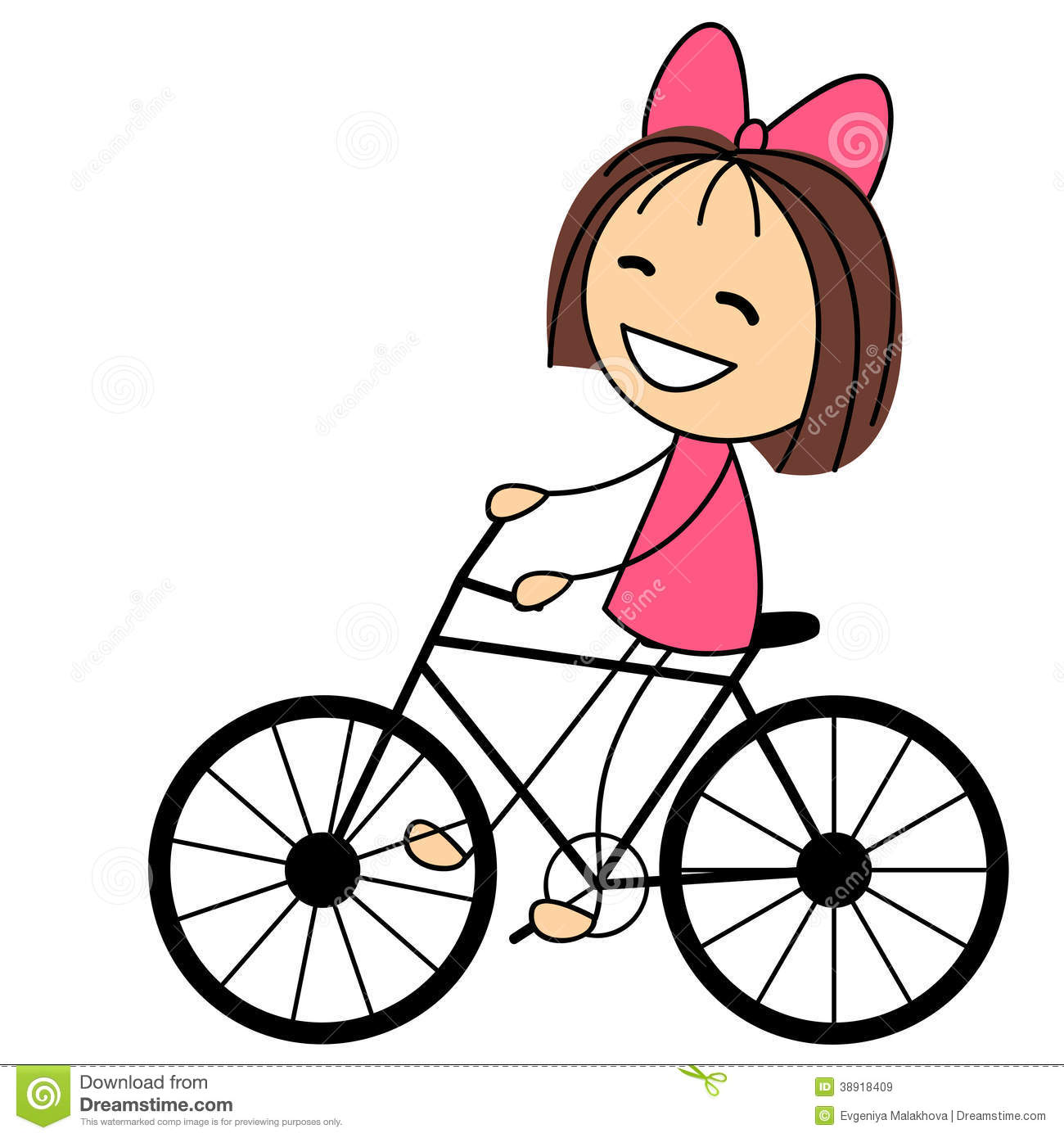 Cute Little Girl On Bicycle Stock Vector - Image: 38918409