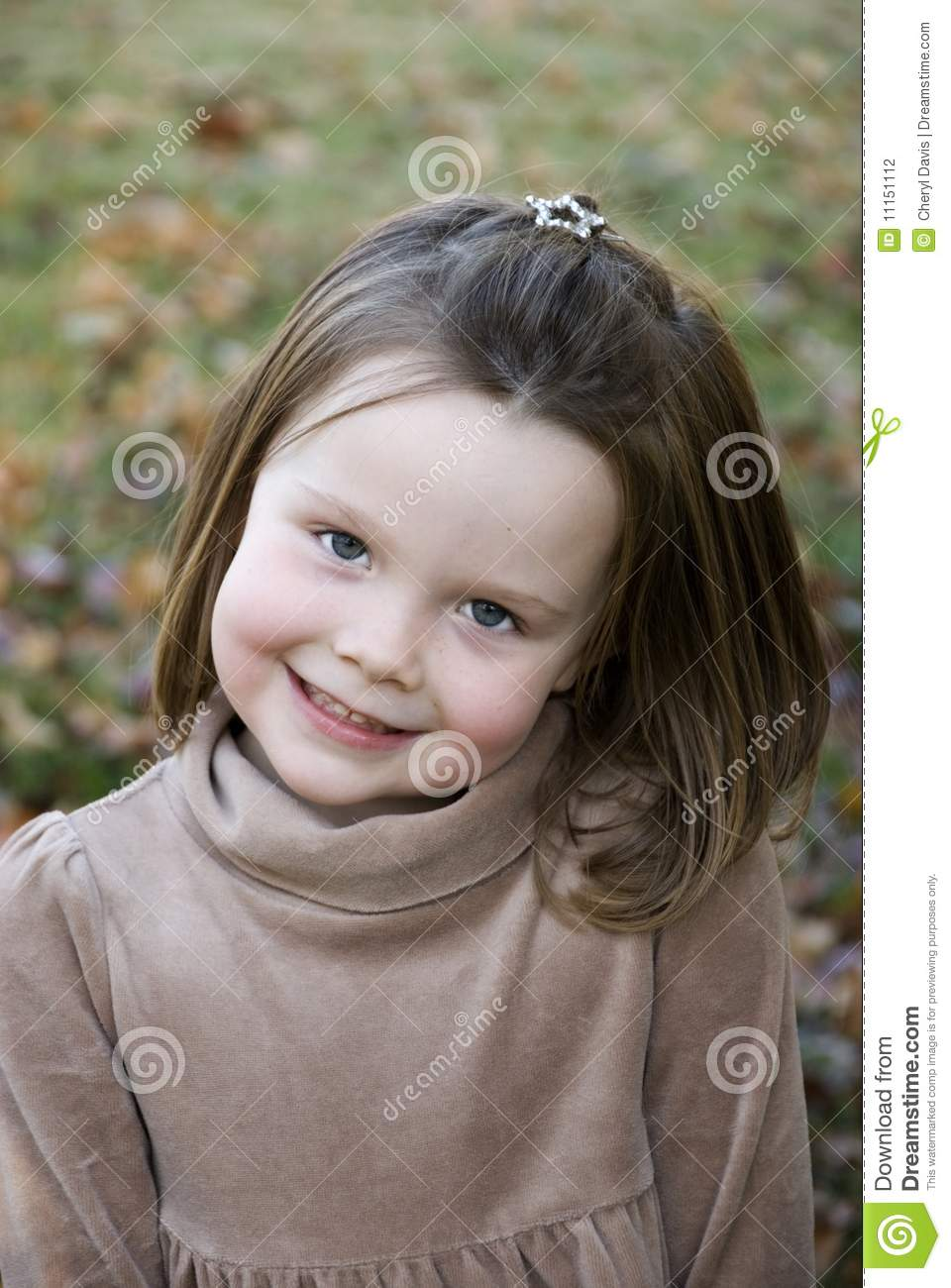 Adorable Little Girl Big Smile Bright Eyes Royalty Free
