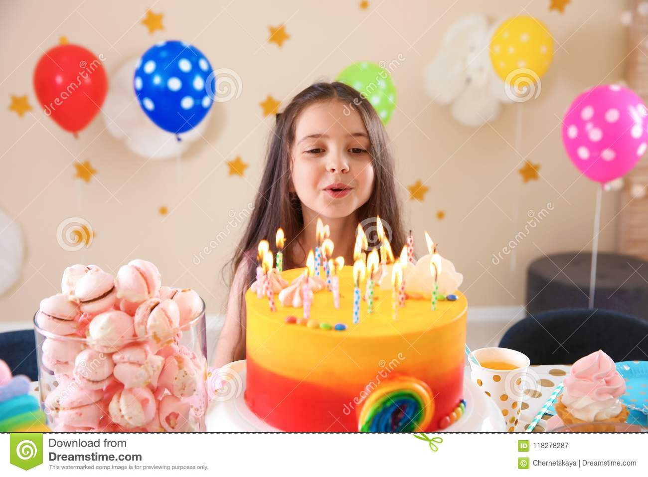 Sensational Cute Little Girl Blowing Out Candles On Her Birthday Cake Stock Personalised Birthday Cards Veneteletsinfo