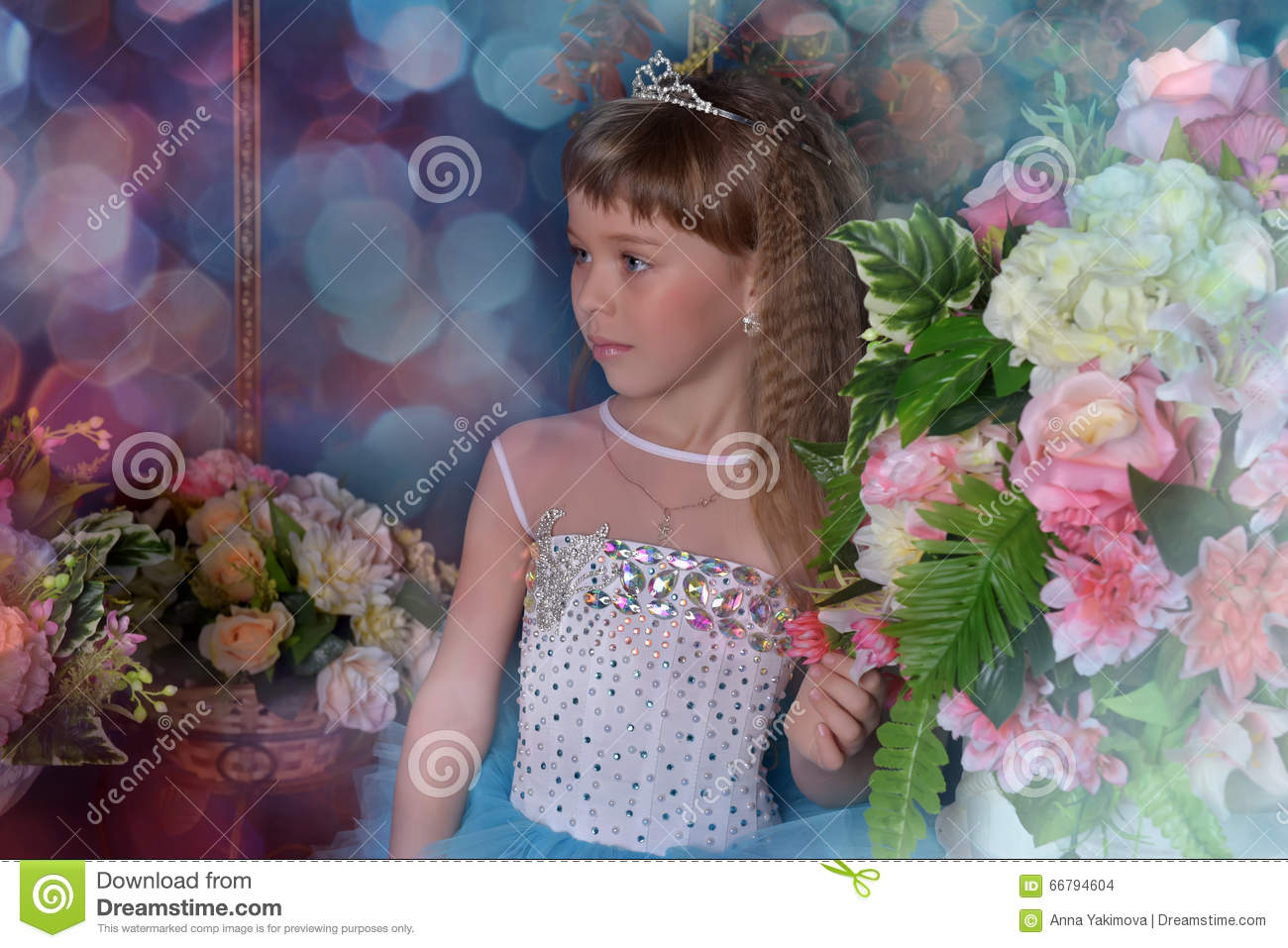 Cute Little Girl In A Blue Dress With Flowers Stock Photo Image Of