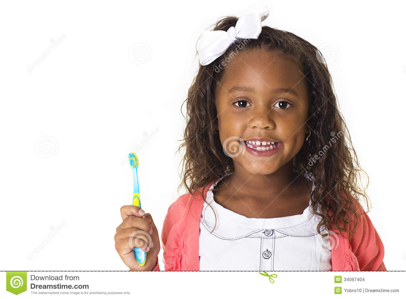 Download Cute Little Girl Brushing Her Teeth Stock Photo - Image of children, black: 34097404