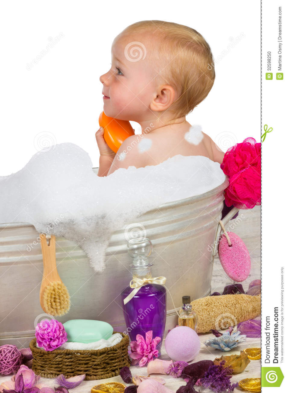 Cute Little Girl In A Bubble Bath Stock Photo Image