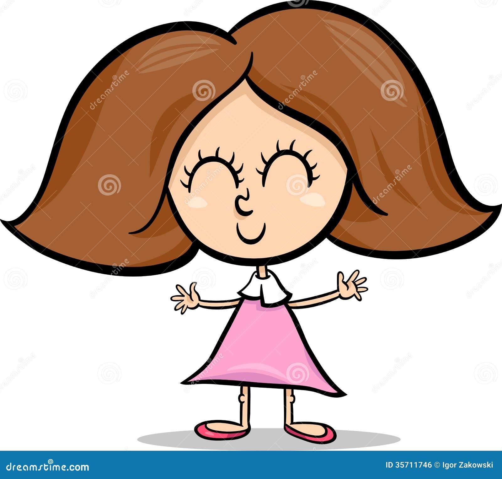 Cute Little Girl Cartoon Illustration Stock Vector ...