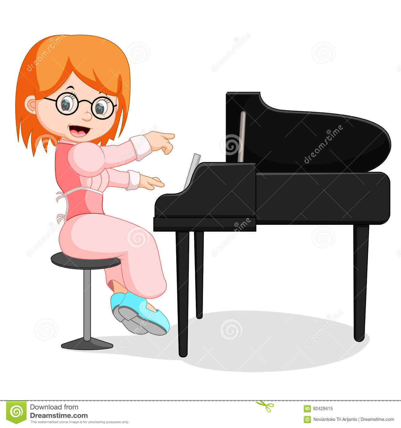 learning how to play a piano cartoon