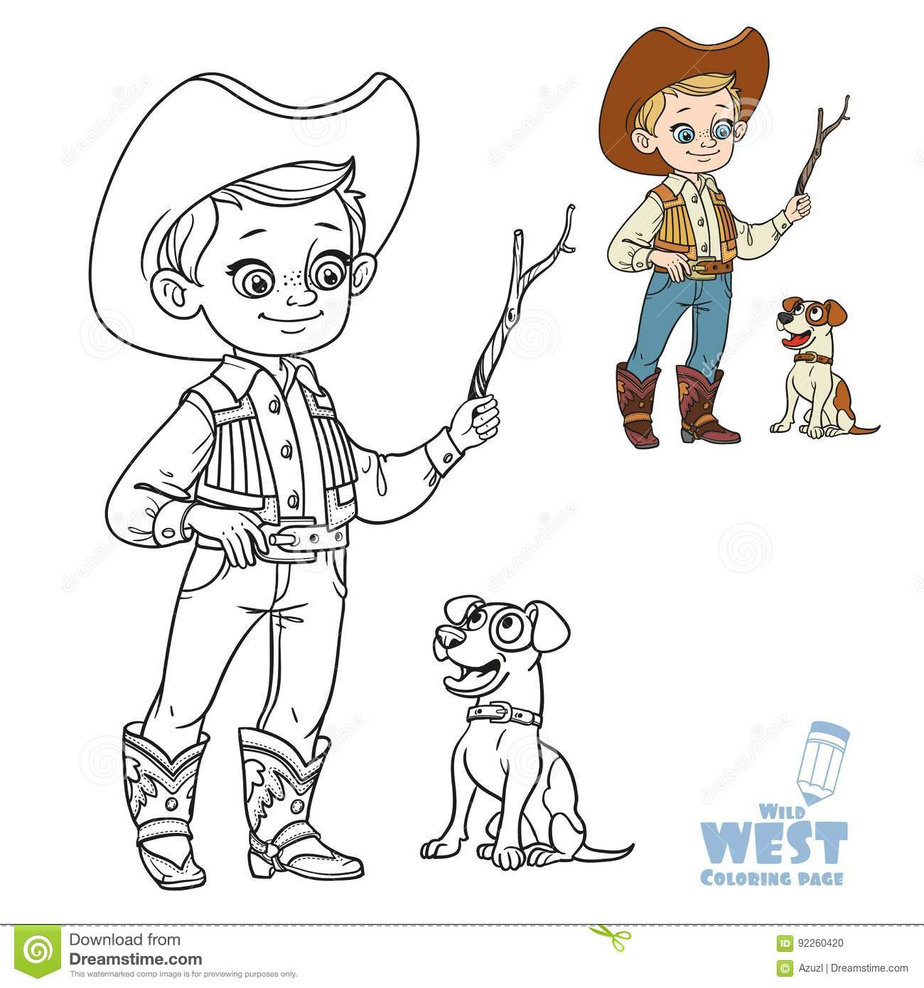 Download Cute Little Girl In A Cowboy Suit Riding Horse Coloring Page Stock Vector