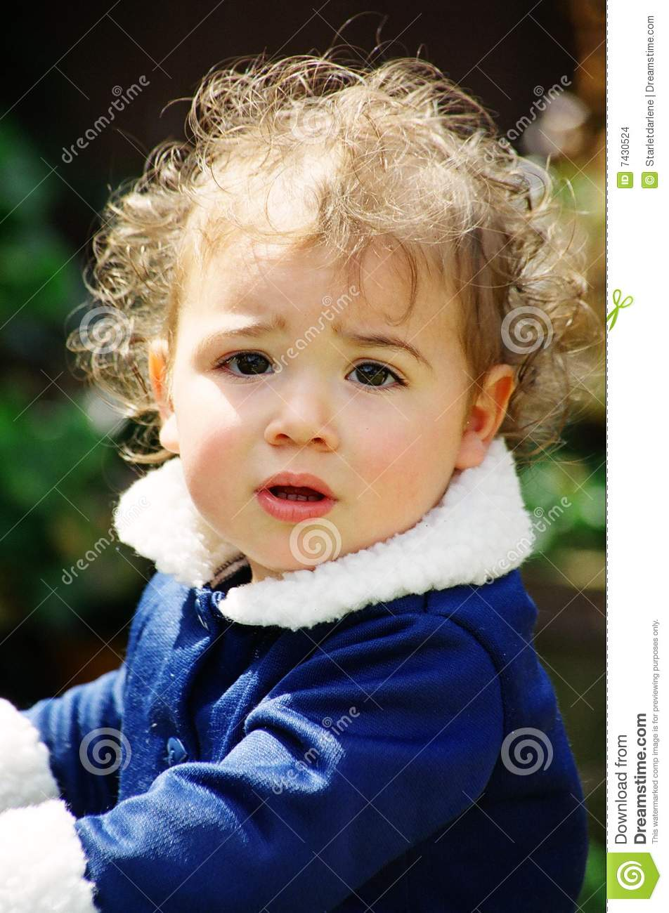 Cute Little Girl With Curly Hair Stock Photo Image Of Eyes