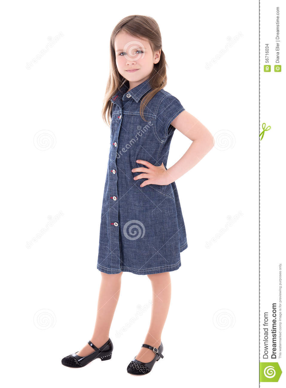 3c22177a261 Cute Little Girl In Denim Dress Isolated On White Stock Photo ...