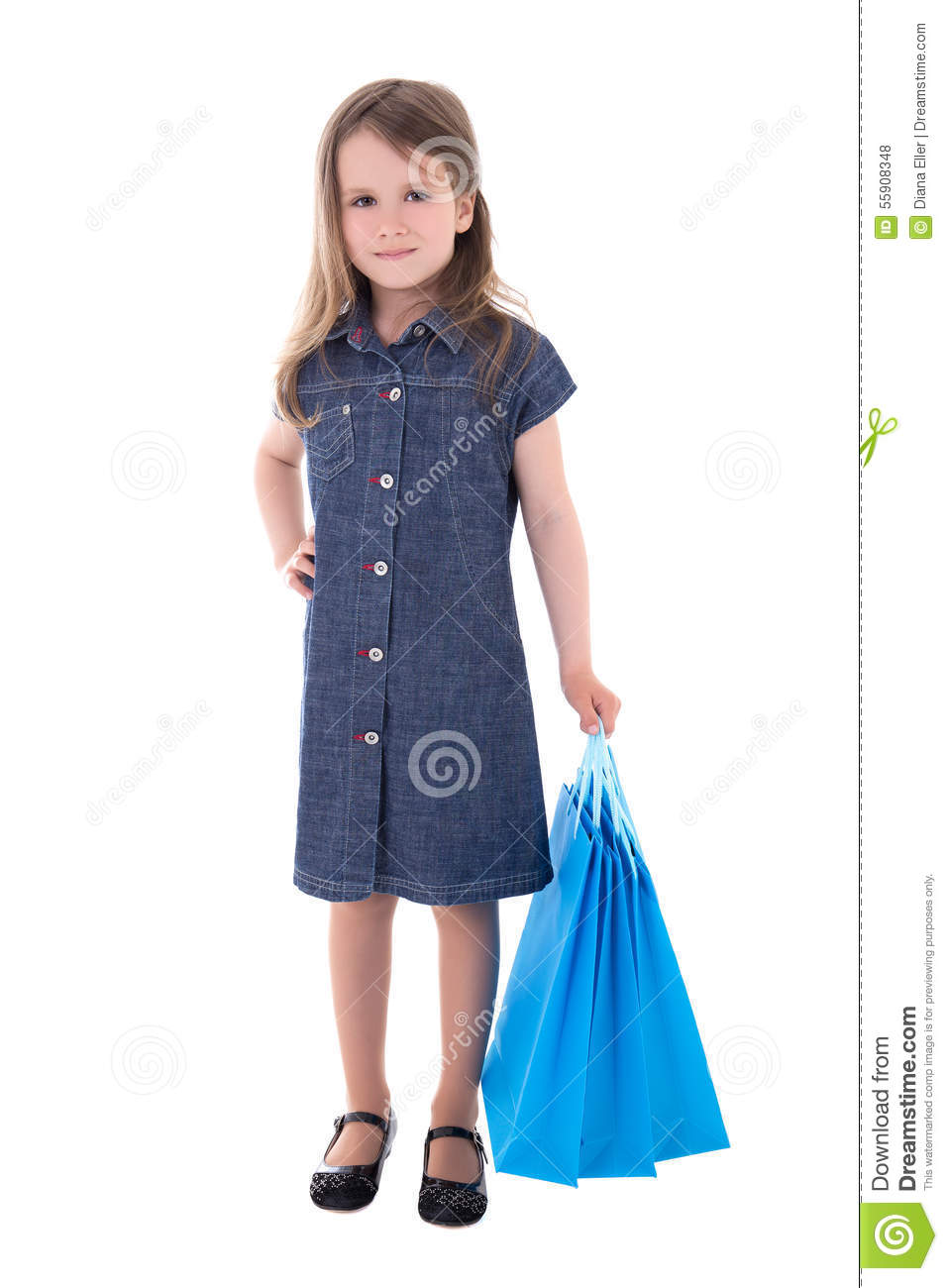 505f2c7ca1f Cute Little Girl In Denim Dress With Shopping Bags Isolated On W ...