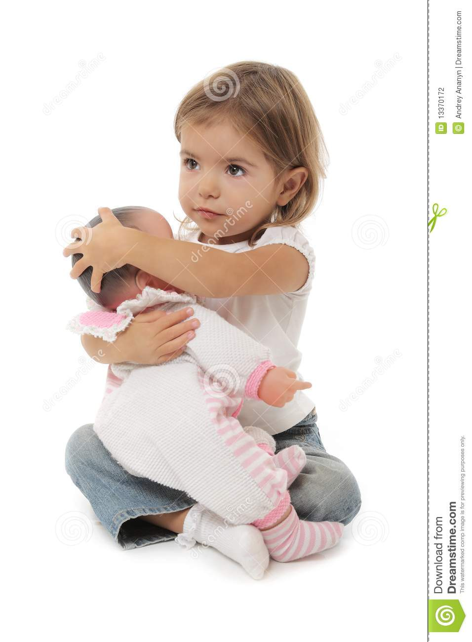 Cute Little Girl With Doll Stock Photography Image 13370172