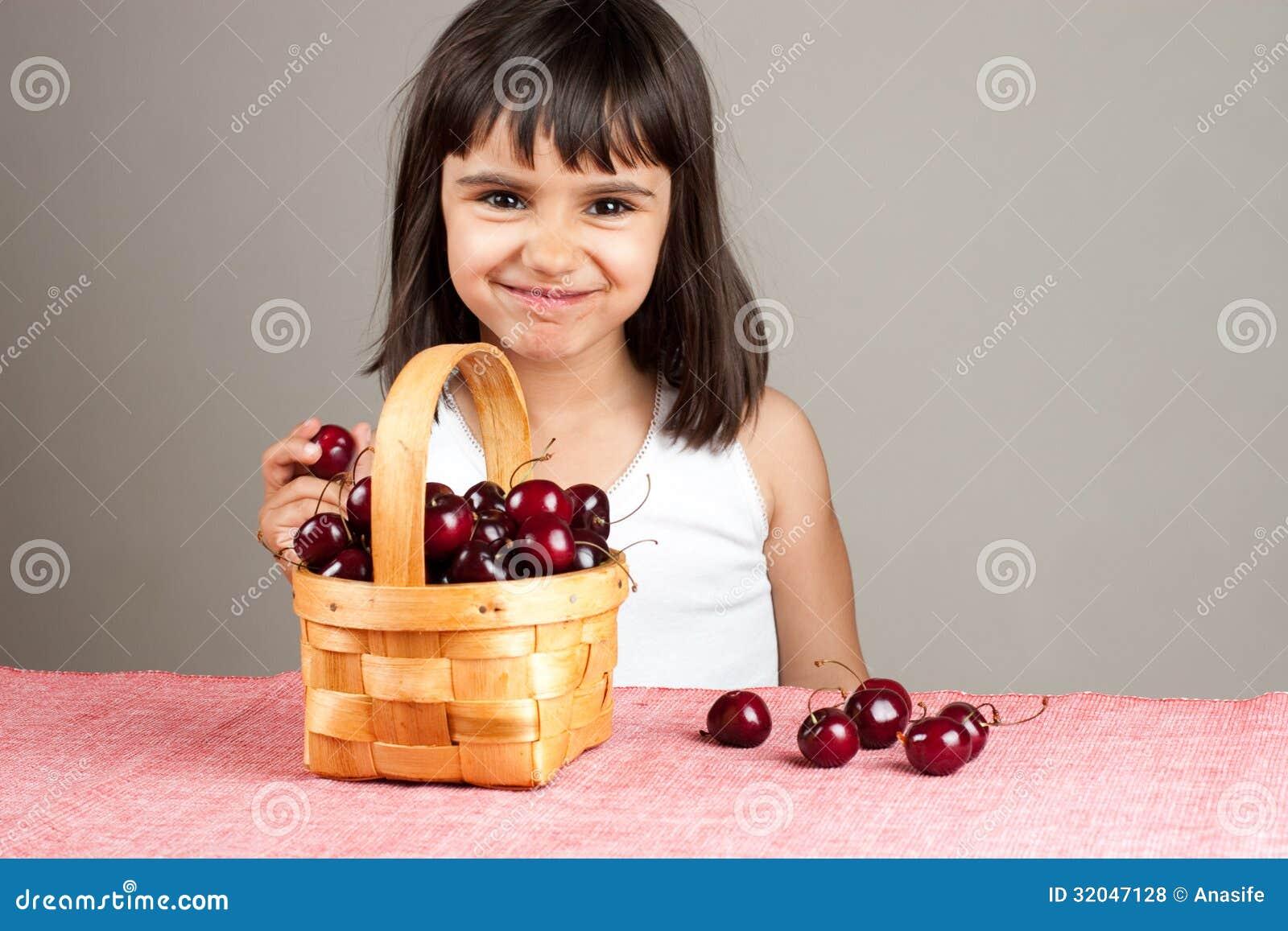 girls eating cherries and body