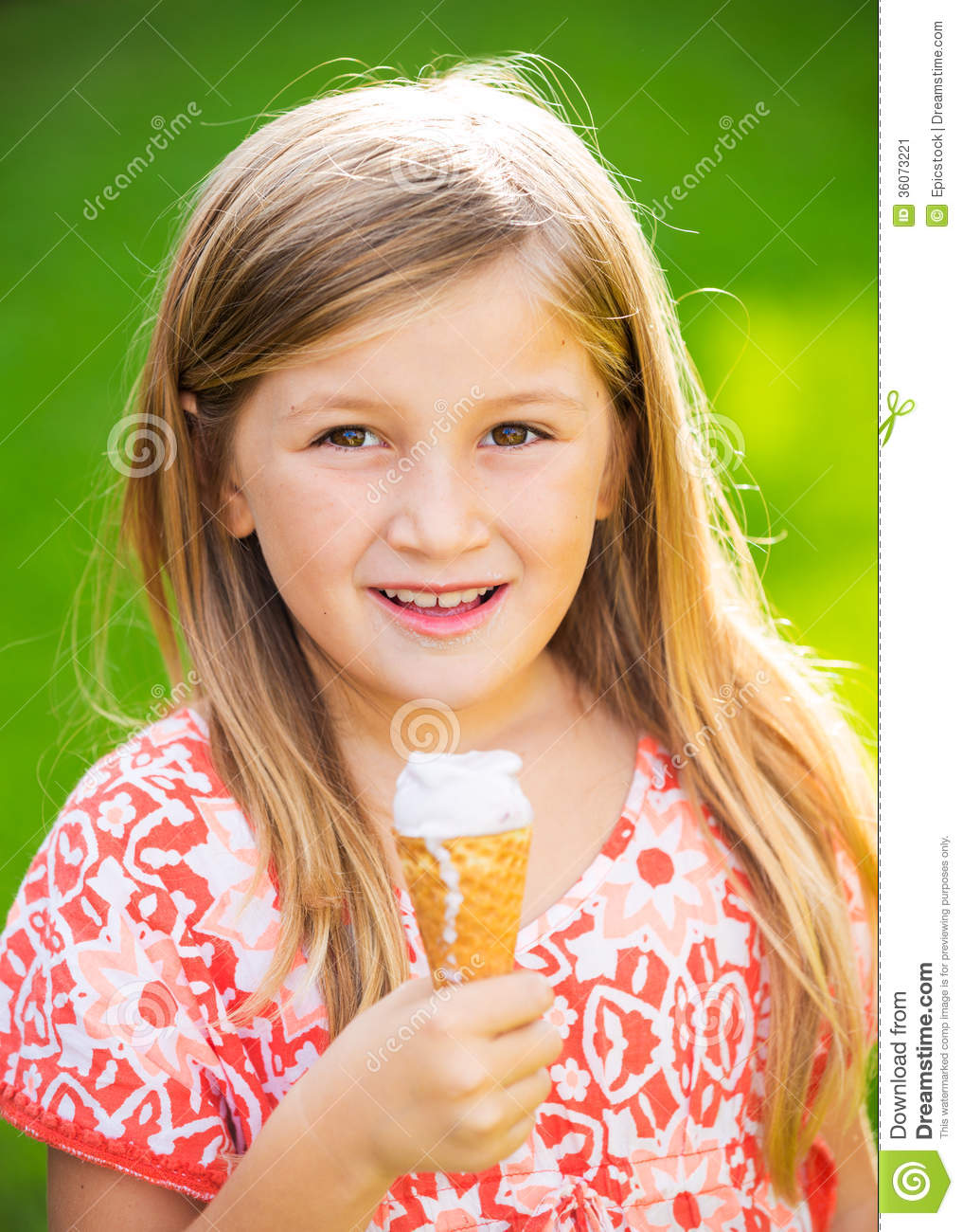 Cute Little Girl Eating Ice Cream Stock Image Image