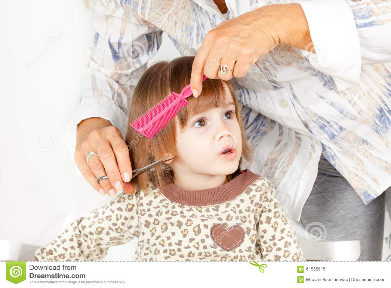 Cute Little Girl Hair Style Stock Image Image 61555615