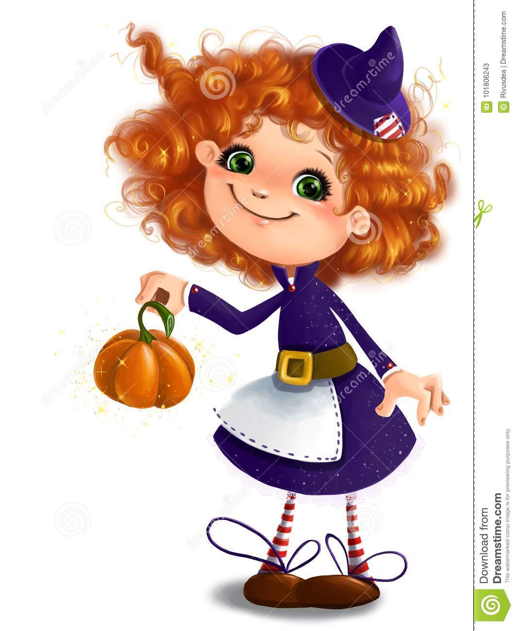 Cute Little Girl In Halloween Witch Costume With Pumpkin ...