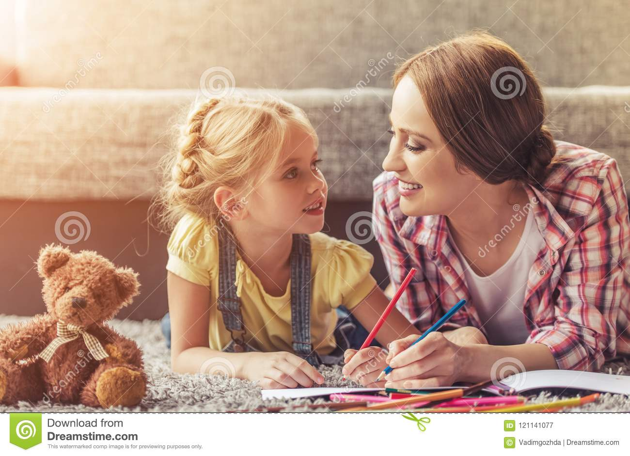 Cute Little Girl and Her Beautiful Mother Drawing.