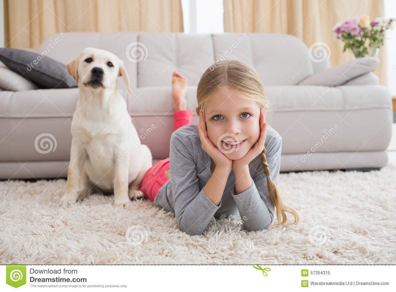 cute little girl with her puppy on rug stock photo image 57354315. Black Bedroom Furniture Sets. Home Design Ideas