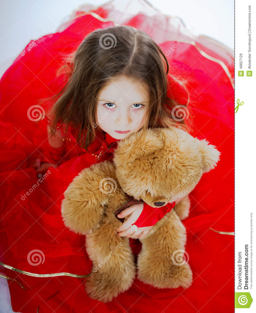 Cute Little Girl With Her Teddy-bear Toy Friend Stock ...Little Girl With Teddy Bear Black And White