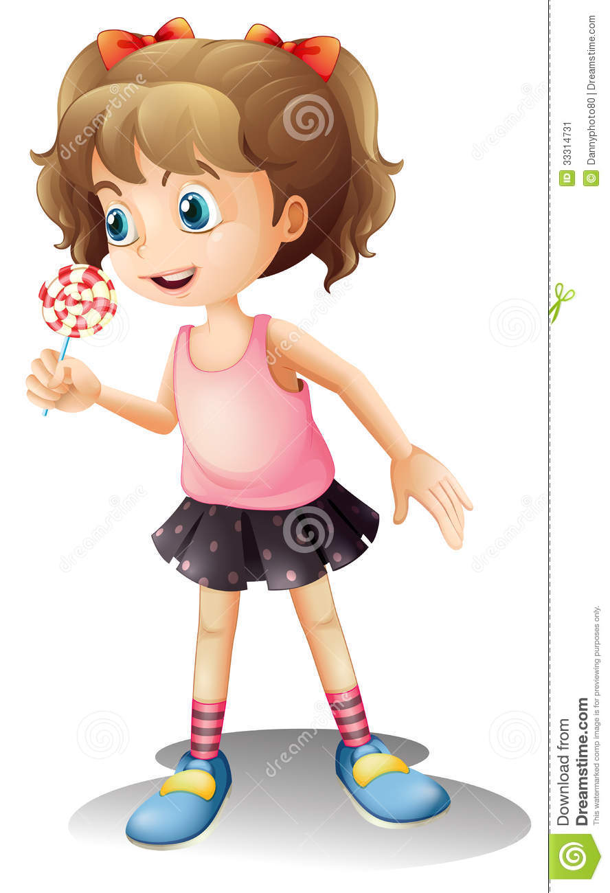 a cute little girl holding a lollipop stock image image Pink Background Vector Pink Background Vector
