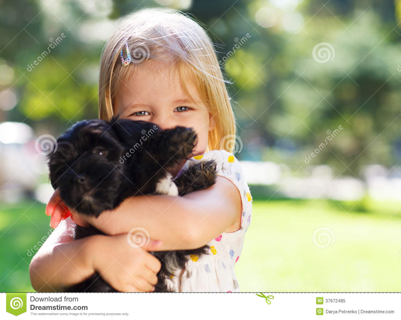 Cute Little Girl Hugging Dog Puppy Royalty Free Stock Photo - Image ...