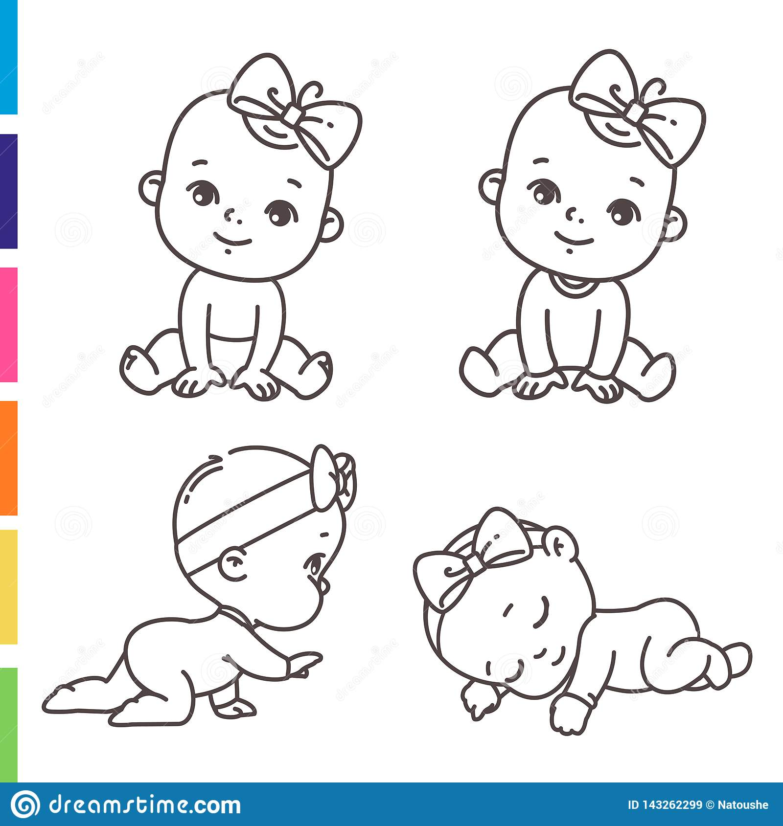 Cute Little Girl Icon Set. Coloring Page Of Outline ...