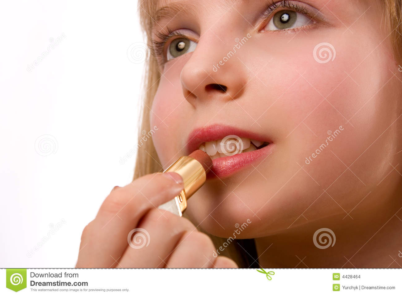 Cute Little Girl With Lipstick Isolated On White Stock Images - Image ...
