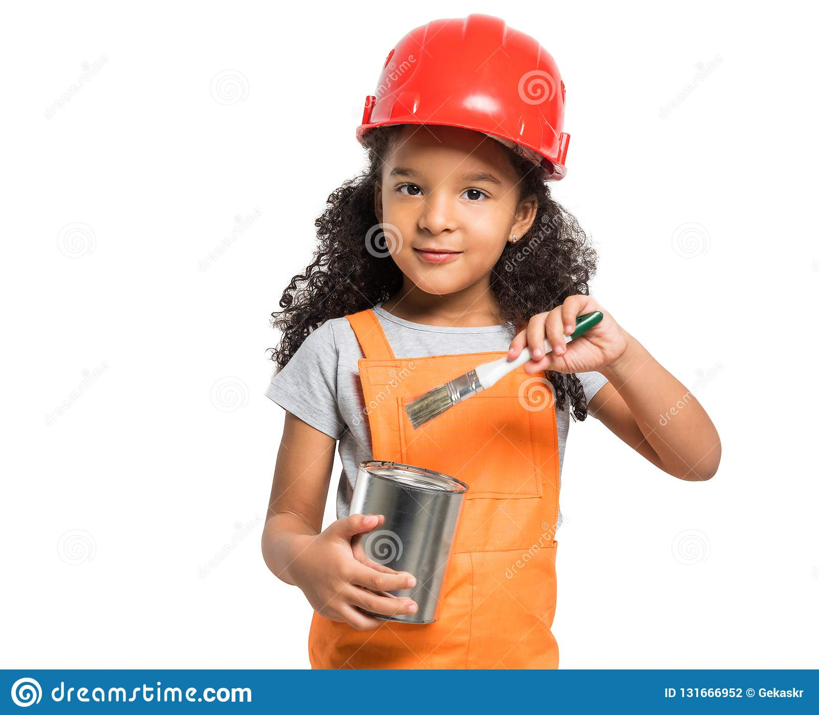 Cute little girl in orange uniform with paint tin in hands