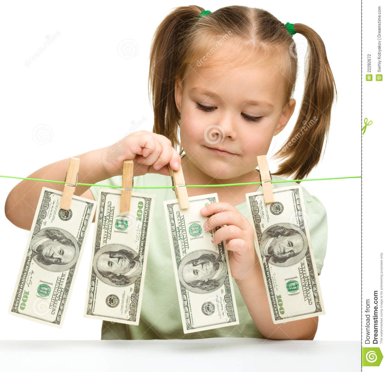 cute little girl with paper money   dollars stock