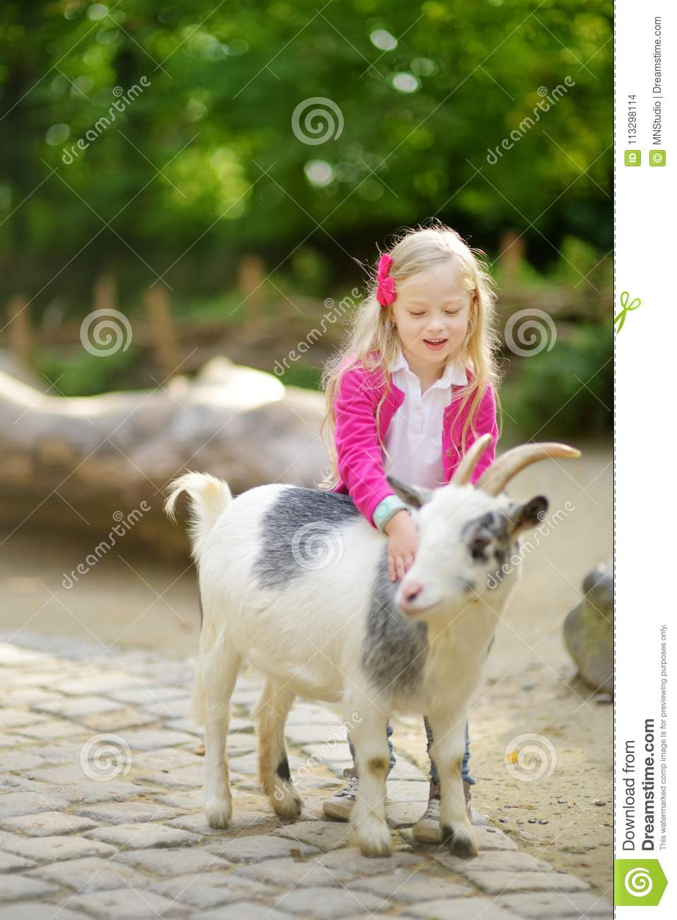Cute Little Girl Petting And Feeding A Goat At Petting Zoo