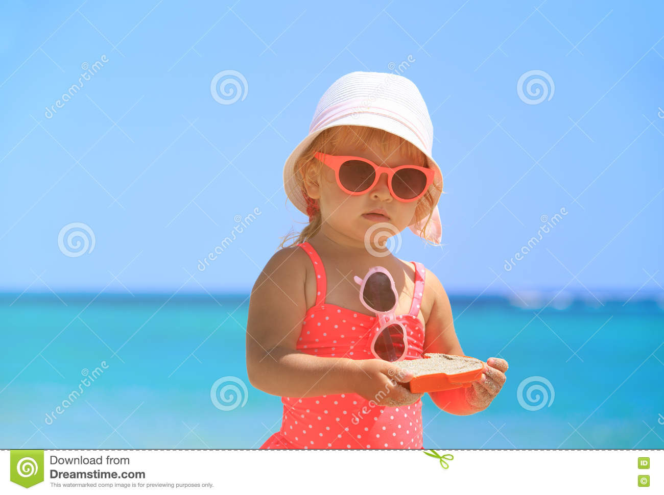 bc5cf2e69d40 Cute Little Girl Play On Sand Beach Stock Image - Image of toddler ...