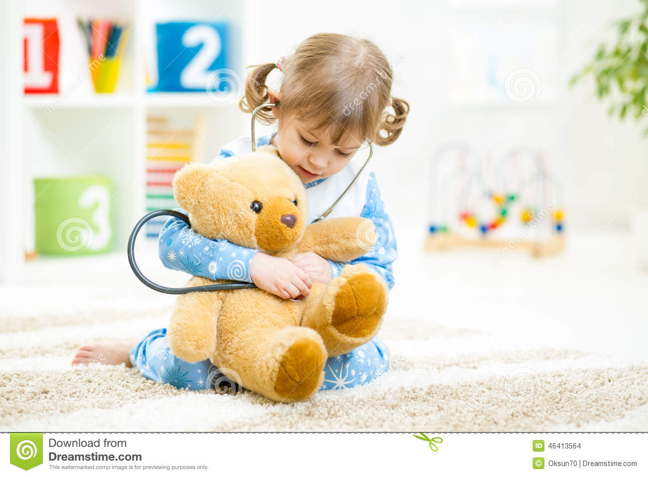 Download Cute Little Girl Playing Doctor With Plush Toy At Stock Photo - Image of concepts, future: 46413564