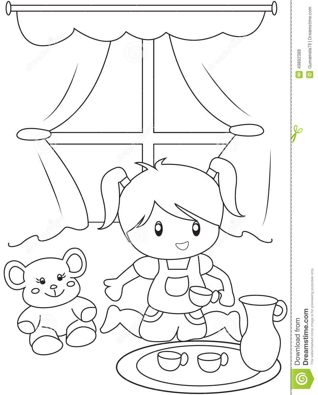 cute little playing indoors coloring page stock illustration